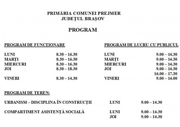 program primaria prejmer